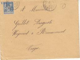Dompaire , Vosges ,boite Rurale I D'Heucheloup,moulin De Bégnécourt ,lettre De 1891 - Marcophilie (Lettres)