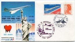 ENVELOPPE CONCORDE 10e ANNIVERSAIRE DU PREMIER VOL PARIS - NEW YORK 22-11-1987 - Concorde