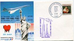 ENVELOPPE CONCORDE 10e ANNIVERSAIRE DU PREMIER VOL  NEW YORK - PARIS 23-11-1987 - Concorde