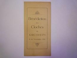 GP 2019 - 672  Bénédiction Des  CLOCHES De  KIRCHHEIM  26 NOV 1922  :  MENU   XXX - Unclassified