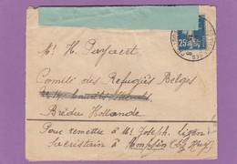 LETTRE DE FRANCE POUR LE COMITÉ DES RÉFUGIES BELGES,BREDA.OUVERTE PAR LA CENSURE. - Postmark Collection
