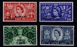Ref 1283 - GB QEII Stamps - British Overprints In Kuwait 1953 Coronation MNH SG 103-106 - Kuwait