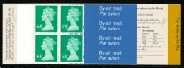 Ref 1283 - GB Machin Stamps - Booklet 4 X 63p Worldwide Airmail - SG GR4 - Carné