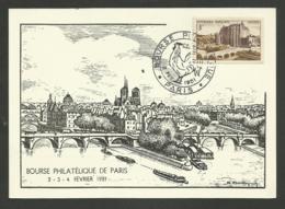 """N° 873 - Chateaudun /  C.P. """" Bourse Philatélique De PARIS """" / Février 1951 - Poststempel (Briefe)"""