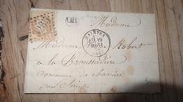 Lettre Cachet De SAINTES Avec Origine Rurale De PREGUILLAC, GC3265, De 1870….................…T15 - 1849-1876: Période Classique