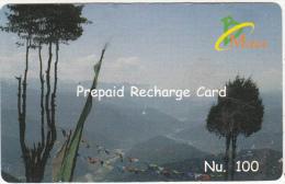 BHUTAN - Landscape, Bhutan Mobile Prepaid Card Nu.100, Used - Butan