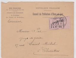 LSC - REC. De  CHARTRES En Franchise - Marcophilie (Lettres)