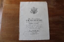 Diplome Eisenhower US 1945  Attribuée  Resistance - 1939-45