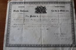 Diplome  Garde Nationale   1831   Beaumont Sur Sarthe - Documentos Históricos