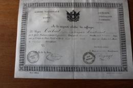 Diplome  Garde Nationale   1848 Brevet D'Officier   Sur Velin - Documentos Históricos