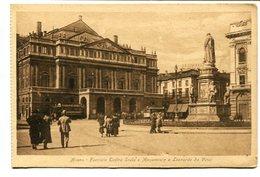 MILANO, FACCIATA TEATRO SCALA E MONUMENTO A LENOARDO SA VINCI. ITALIA ITALY CPA POSTAL CIRCA 1900's NOT CIRCULATED LILHU - Milano (Mailand)
