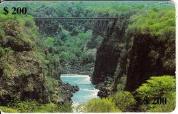 ZIMBABWE(chip) - A Bridge Over The Zambezi, Exp.date 08/00, Used - Zimbabwe