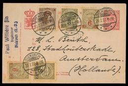 LUXEMBOURG. 1922 (20 Feb). Diekirch - Amsterdam / Netherlands 10c Rose Stat Card + 5 Adtls. VF + Scarce Colorful Item. - Non Classificati