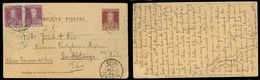 Argentina - Stationery. 1924 (7 July). Rosario SF / Saladillo - Batanga / Camerun Via Kribi 4c Stat Card + 2 Adtls Trans - Argentina