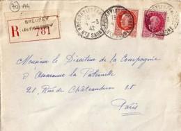 70 - HAUTE SAONE - BREUREY LES FAVERNEY - 1942 - TàD De Type A4 SUR DEVANT - Storia Postale