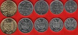 Moldova Set Of 5 Coins: 1 - 50 Bani 2006-2012 UNC - Moldavie