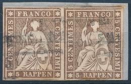 22D / 13llBys Strubel 5 Rappen Paar Auf Ausschnitt - Gemäss Scans - Used Stamps