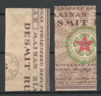LATVIA Lettland 1921 Michel 52 & 54 X As Pairs Incl ERROR Abart Varity = Missing Green And Blue Print From Backside MNH - Lettland
