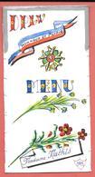 """3 Menus Thème LEGION D'HONNEUR -1 écrit 1981 """"LE TERMIINUS """" à MENTON & 2 VIERGES - D.P.L.V. HONNEUR ET PATRIE -MEDAILLE - Menus"""