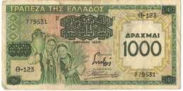 1000 Drachmas 1939 (Grece, Drachmai, Drachmes, Griechenland, Griekenland, Grecia) - Greece
