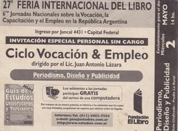 ENTRADA 27° FERIA DEL LIBRO LA RURAL BUENOS AIRES AÑO 2002 - BLEUP - Tickets - Vouchers