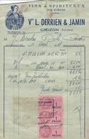 FACTURE 1951 VINS ET SPIRITUEUX EN GROS VEUVE DERRIEN ET JAMIN / CROZON FINISTERE - France