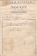 FACTURE 1951 VINS ET ALCOOLS MOULIN / CROZON FINISTERE - France