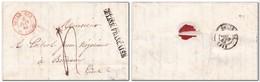 """GUYANE Lettre Avec Texte Cayenne Pour Bordeaux Griffre """"GUYANE FRANCAISE"""", Dateur D'entrée Rouge Pauillac 3 Juin 1843 - Marcophilie (Lettres)"""