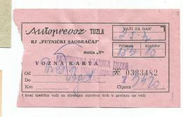 Bus Ticket Yugoslavia AUTOPREVOZ TUZLA TUZLA - BEOGRAD 1972 - Bus
