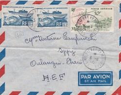 SPM 1957 -  Lettre Poste Aérienne De St-Pierre Pour Oubangui-Chari AEF Affranchie Avec  50F 1947 YT PA 18 + 3x 6F YT 339 - St.Pierre & Miquelon