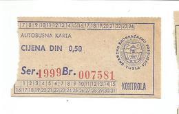 Bus Ticket Yugoslavia ATOPREVOZ TUZLA - City Bus TUZLA - Bosnia And Herzegovina 1970s - Bus