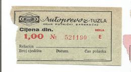 Bus Ticket Yugoslavia ATOPREVOZ TUZLA - City Bus TUZLA - Bosnia And Herzegovina 1970s - Europa