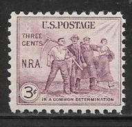 1933 3 Cents National Recovery Act, Mint Never Hinged - United States