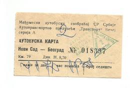 Bus Ticket Yugoslavia TRANSPORT BECEJ NOVI SAD - BEOGRAD 1970. - Europa