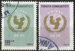 TURKEY 1971 - Mi. 2246-47 O, 25th Year Of UNICEF - 1921-... Republik