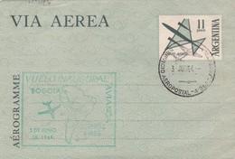 AEROGRAMME. VUELO INAGURAL AVIANCA BOGOTA BUENOS AIRES AÑO 1964 BANDELETA PARLANTE - BLEUP - Enteros Postales