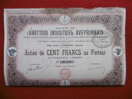 ACTION L ABATTOIR  INDUSTRIEL AVEYRONNAIS 1920 ROQUEFORT - Actions & Titres