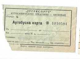 "Bus Ticket Yugoslavia ""JUGEKSPRES"" LESKOVAC 1970s - Europa"
