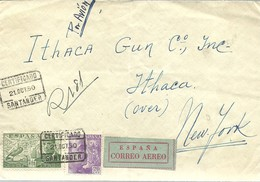 CARTA CERTIFICADA SANTANDER A NEW YORK - 1931-50 Storia Postale