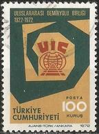 TURKEY 1972 - Mi. 2278 O, Railways   Int. Unioun Of Railways (UIC)   Symbol And Emblem - 1921-... Republik