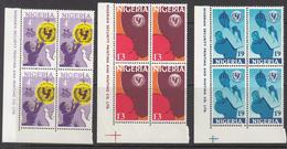 1971 Nigeria UNICEF Health Complete Set Of 3.in Corner Blocks Of 4  MNH - Nigeria (1961-...)