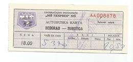 """Bus Ticket Yugoslavia """"NIS-EKSPRES"""" BEOGRAD - SUBOTICA 1970 - Europa"""