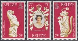 Belize 1978 - The 25th Anniversary Of Coronation: White Lion, Maya God Of Day & Night - Mi 381-383 ** MNH - Belize (1973-...)