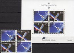 Raumfahrt 1991 Portugal 1862/3 VB+Block 78 O 24€ Fernsehsatellit EUTELSAT M/s Blocs Space Se-tenants Bf EUROPA/CEPT - Space