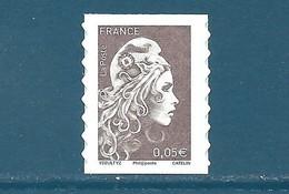 N°1595 Marianne D'Yseult 0,05€ Brun Foncé Autoadhésif Neuf** (issu De Feuille) - 2018-... Marianne L'Engagée