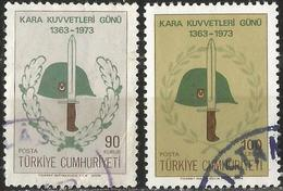 TURKEY 1973 - Mi. 2284-85 O, Land Forces Day   Steel Helmet   Bayonet - 1921-... Republik