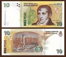 Argentina P354, 10 Pesos, Gen Manuel Belgrano / Monument Of The Flag UNC $7CV - Argentina