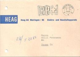 """Motiv Karte  """"Heag AG, Apparate, Meiringen""""           1964 - Svizzera"""