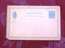 Denmark Around 1890 Stationery Postcard Unused - Crowned Nummer - 1864-04 (Christian IX)