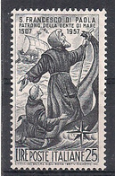 REPUBBLICA ITALIANA 1957 SAN FRANCESCO DI PAOLA SASS. 825 MNH XF - 1946-60: Nuovi